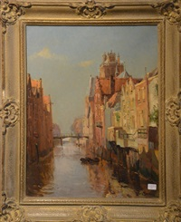 canal à dordrecht by louis soonius