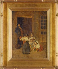 children playing in a doorway by eduardo zamacois y zabala