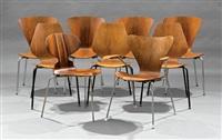 nine vintage danish modern molded plywood chairs by arne jacobsen