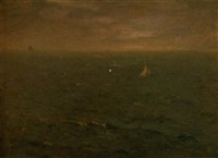 sea with sailboat by augustus vincent tack