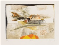 la promenade / anticyclon / l'envol / 3xohne titel (6 works, incl. 2 etchings, various sizes and editions) by rené carcan