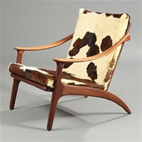 A Teak Easy Chair Loose Cushions Upholstered With Cowhide Von Arne