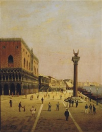 view of the palazzo ducale and the riva schiavoni, venice by c. alfieri