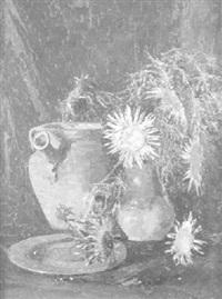 stilleben mit silberdisteln, tonkrug und teller by rudolf thost