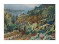 paisaje con montaña, caserío y mar by emili bosch roger