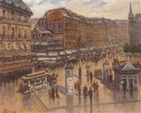 a bustling parisian square by bar le roy