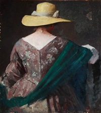 back-turned lady with a yellow summer hat, flowered dress and green shawl by herman albert gude vedel