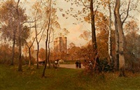 autumn day at sunset in bois de boulogne by henri linguet