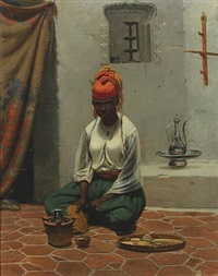 african woman making coffee by vasili fedorovich (george wilhelm) timm
