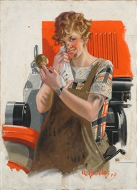 original illustration for a cover of collier's magazine. depicts cotuit, massachusetts resident alice goodspeed in front of a cotuit fire engine by reginald f. bolles