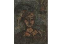femme au chapeau a plumes, detrempe on by georges rouault