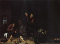 bäuerliches interieur mit fünf personen by pieter van den bos