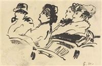 quatre personnages au théâtre by édouard manet
