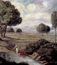 frühlingslandschaft mit wäscherinnen by oskar krenzer