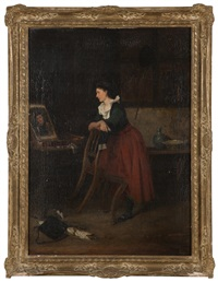woman painter in an interior by casimir van den daele