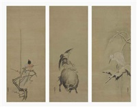 heron (+ 2 others; 3 works) (triptych) by kano yasunobu