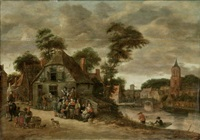 alltagsszene in einem dorf am fluss by salomon rombouts