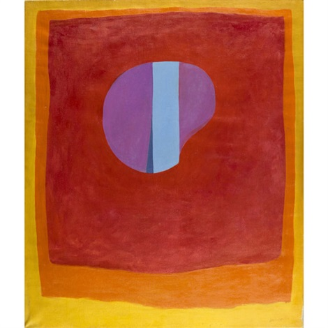 untitled purple and blue circle in red orange and yellow by rex ashlock