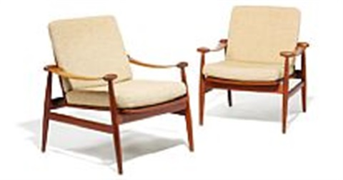finn juhl spade chair a pair of easy chairs upholstered with beige wool manufactured by france daverkosen 2