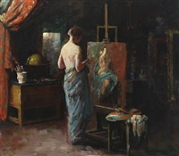 interior from the artist's studio with a female nude model (+ naked woman on a sofa, verso) by herman albert gude vedel