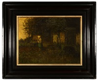 dutch figure near a house in a landscape by henri van daalhoff