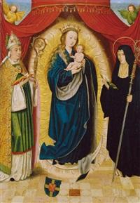 madonna mit dem hl. benedikt und der hl. scholastika by bartholomäus (barthel) bruyn the younger