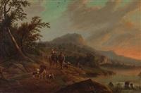 flusslandschaft mit bauersleuten und tieren by gottfried locher