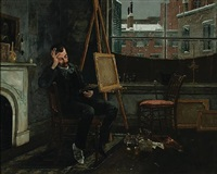 the artist in his studio by henry alexander