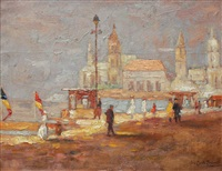 village scene by paul emile lecomte