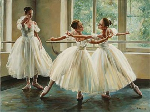 three ballet girls practicing by alexander akopov