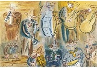 concert des anges (+ 2 others; set of 3) by raoul dufy