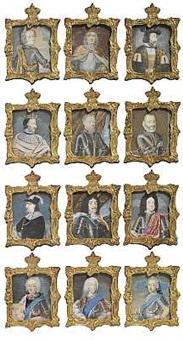 de oldenborgske kongerække fra christian i til frederik v (set of 12) by johann jacob bruun