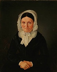 portrait of an elderly woman in a black dress by jean meno haas
