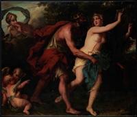 zeus (jupiter) bedrängt semele. hera (juno) belauscht die szene by erasmus quellinus the younger