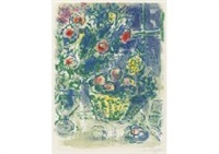 corbeille de fruits et ananas by marc chagall
