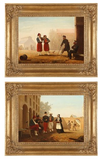 wounded soldiers conversing in infirmary courtyards (+ another; 2 works) by willem tjarda van starkenborgh stackouwer