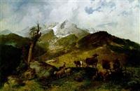 auf der hochalm mit blick auf die alpspitze by michael sachs