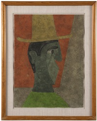 cabeza con sombrero (head with hat) by rufino tamayo