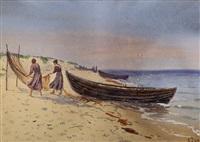 rybackie łodzie na brzegu morza by soter jaxa-malachowski