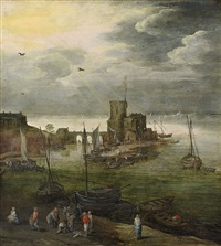 hafenansicht mit fischern by joos de momper the younger and jan brueghel the younger