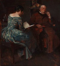 evening atmosphere in a living room, where a lady is reading for a man by herman albert gude vedel