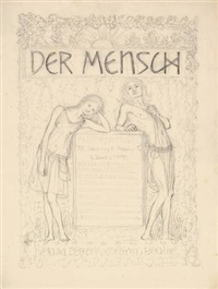 der mensch (titelblatt-entwurf) (design) by hugo hoppener fidus