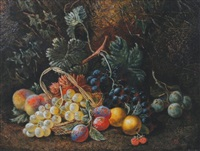 still life paintings, one with flowers, nest and basket, the other with fruit (pair) by henry j. livens