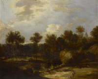 waldige landschaft mit jäger by jan andreas lievens the younger