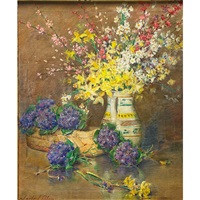 still life with flowers in pitcher by carle john blenner