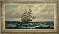 masted ship on calm seas by anton gutknecht
