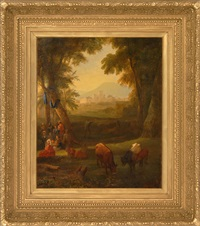 cattle and figures with a castle and mountains in the background by asher brown durand