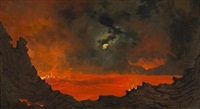 kilauea at night by jules tavernier