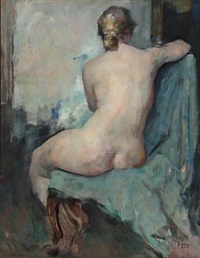 nude female model (study) by herman albert gude vedel