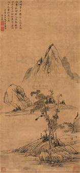 溪岸草堂 (landscape) by liang mengzhao
